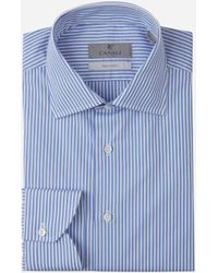 Canali Camisa Motivo Rayas - Azul