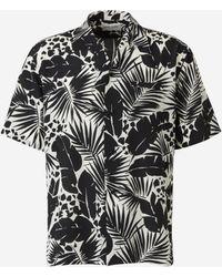 Saint Laurent Camisa Seda Estampada - Negro