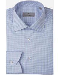 Canali Camisa Motivo Pata De Gallo - Azul