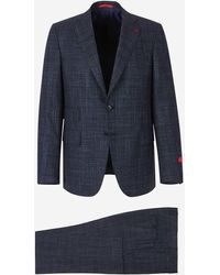 """Isaia """"gregory"""" Suit In Silk Wool - Blue"""