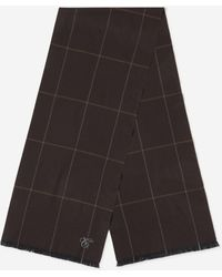 Canali Check Wool Scarf - Brown