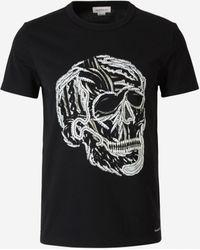 Alexander McQueen Camiseta Calavera Bordada - Negro