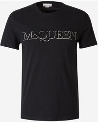 Alexander McQueen Camiseta Logo Bordado - Negro