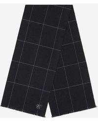 Canali Check Wool Scarf - Black
