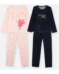 VERTBAUDET Lot De 2 Pyjama Molleton - Blauw