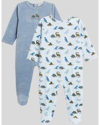 Bout'Chou Lot De 2 Pyjamas Imprimés En Velours Contenant Du Coton Bio - Blauw