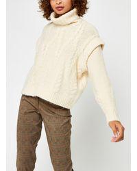 Pieces Pcsappa Ls Roll Neck Knit - Blanc