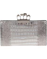 Alexander McQueen Crocodile-effect Clutch Bag - Metallic