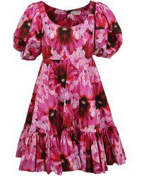 Alexander McQueen Endangered Flower Poplin Mini Dress - Pink