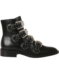 Givenchy - Buckled Ankle Boots In Leather With Studs - Lyst