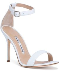 530cc8186914 Lyst - Manolo Blahnik Chaos Patent Ankle-strap Sandal in Natural