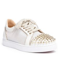 86b65ae773b0 Lyst - Christian Louboutin Ac Vieira Spike Leather And Mesh Sneakers ...