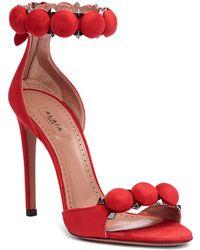 Alaïa - Red Suede Bomb Sandals - Lyst