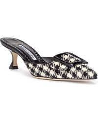 Manolo Blahnik - Maysale 50 Black And White Tweed Mules - Lyst