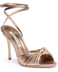 Manolo Blahnik - Mumuye 105 Nappa Light Bronze Sandal - Lyst