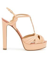 Francesco Russo Leather Platform Sandals - Natural
