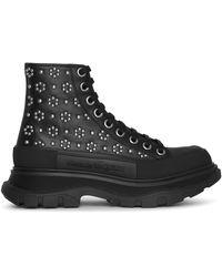 Alexander McQueen Tread Slick Floral Studs Boots - Black