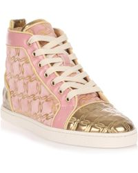 b572309f5012 Christian Louboutin - Bip Bip Pink And Gold Suede Trainer Us - Lyst