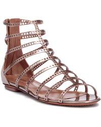 Alaïa Metallic Laser-cut Leather Sandals