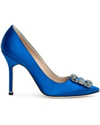 Manolo Blahnik Hangisi Satin Pump Royal Blue Us