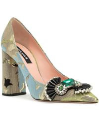 Rochas Brocade Embellished Pointy Court Shoes