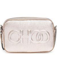 Jimmy Choo - Platinum Metallic Nappa Leather Embossed Logo Camera Bag - Lyst