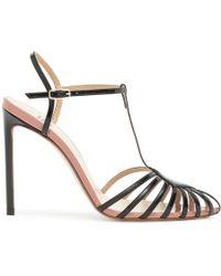 Francesco Russo Black Patent T-bar Sandal