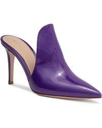 Gianvito Rossi - Aramis 85 Violet Patent Leather Mules - Lyst