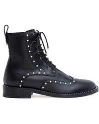 Jimmy Choo Hanah 10 Black Leather Pearl Boots