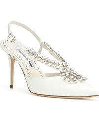 4957b1deeee Manolo Blahnik - Sibusata 90 White Satin Crystal Embellishment Court Shoes  - Lyst