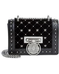 8073061411 Balmain - Baby Box Black Velvet Studded Shoulder Bag - Lyst
