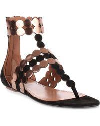 Alaïa Black Suede And Metallic Leather Sandal Us