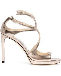 Jimmy Choo Lance 100 Gold Leather Sandals - Metallic