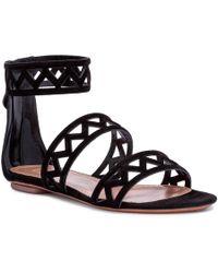 Alaïa - Black Suede Laser-cut Flat Sandals - Lyst
