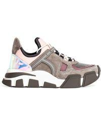 Ferragamo Cimbra Pink And Silver Sneakers - Multicolour