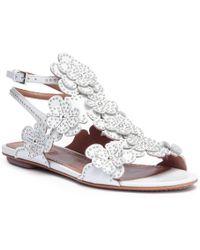 Alaïa White Leather Floral Flat Sandals