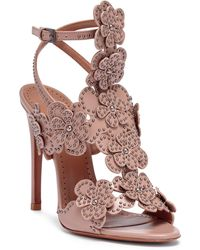 Alaïa - Tan Leather Floral Sandals - Lyst