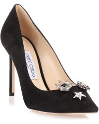 20340f535b7a Jimmy Choo - Jasmine Black Suede Pump With Jewelled Buttons Us - Lyst