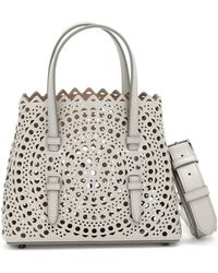 Alaïa - Mina Mini Light Grey Bag - Lyst