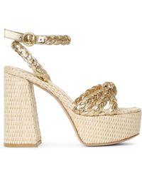 Gianvito Rossi Kea Gold And Raffia Platform Sandals - Metallic