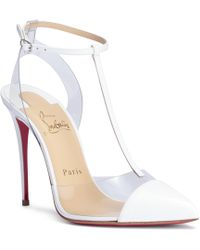 Christian Louboutin - Nosy 100 Patent White Court Shoes - Lyst