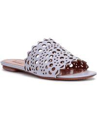 Alaïa - Grey Leather Laser-cut Slide Sandals - Lyst