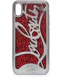 Christian Louboutin Ricky Strass Logo Xs Max Iphone Case - Black