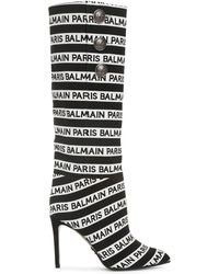 Balmain 95mm Jane Logo Slouchy Fabric Boots - Black
