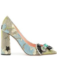 Rochas Brocade Embellished Pointy Pumps - Multicolour