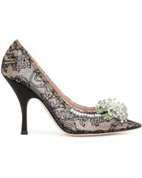 Rochas Black Lace Crystal Embellished Pumps - Metallic