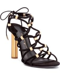 Ferragamo - Fiuggi 105 Black Suede Sandals - Lyst