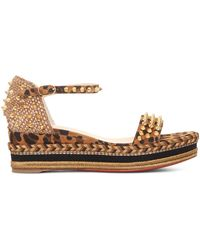 Christian Louboutin Madmonica 60 Spiked Leopard-print Suede Espadrille Wedge Sandals - Brown