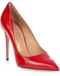 Ferragamo - Fiore 100 Red Patent Pump - Lyst