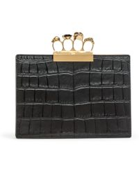 Alexander McQueen - Four Ring Pouch Black Leather Clutch - Lyst